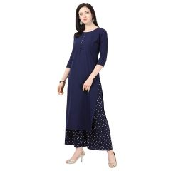 G.P Daisy Crepe Printed Ethnic Wear Kurti with Plazzo for Womens (Color:-Blue)