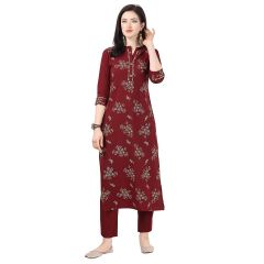 G.P Daisy Crepe Green Printed Ethnic Wear Kurti with Pant for Womens (Color:-Dark Maroon)