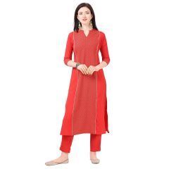 G.P Daisy Crepe Green Printed Ethnic Wear Kurti with Pant for Womens (Color:-Red)