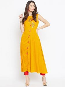 Flared, 3|S Sleeveless, Long Rayon Fabric Stitched Kurta for Womens (Color-Yellow)