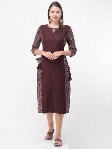 Floral Printed & Hand Work, Rayon Fabric 3|S Sleeveless, Kurta for Womens (Black)