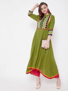 A-LIne Stitched Embroidered Viscose Rayon Fabric Straight Kurta for Womens