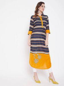 Womens Multicolor Printed Viscose Rayon Fabric Straight Kurta