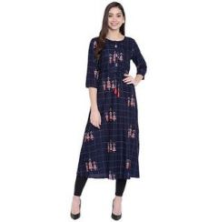 Straight 3|4 Sleeves, Rayon Fabric Stitched Kurti for Womens (Color-DarkBlue)