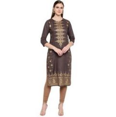 Straight 3|4 Sleeves, Rayon Fabric Stitched Kurti for Womens (Color-Tan)