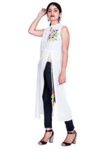 Womens Sleeveless, Rayon Fabric Stitched Kurti for Womens (Color-White)