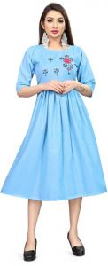 Women Fashionable Embroidered Cotton Blend A-line Kurta For Casual Wear (Light Blue)