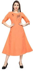 Women Fashionable Embroidered Cotton Blend A-line Kurta For Casual Wear (Orange)