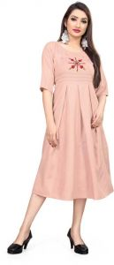 Women Fashionable Embroidered Cotton Blend A-line Kurta For Casual Wear (Pink)