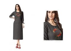SUNSIM FASHION Cotton Blend Embroidery 3/4th Sleeve Casual Kurtis For Women's (Grey) (Pack of 1)