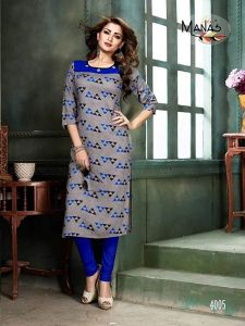 Sunsim Fashion Comfortable and Regular Rayon Solid 3/4th Sleeve Casual Kurtis For Womens (Grey & Blue)