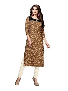 Sunsim Fashion Comfortable and Regular Fit Rayon Solid 3/4th Sleeve Casual Kurtis For Womens (Brown)