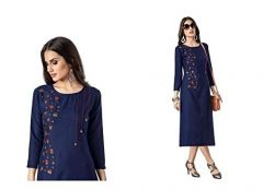 Sunsim Fashion Comfortable and Regular Cotton Blend Embroidery 3/4th Sleeve Casual Kurtis For Womens (Navy Blue)