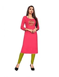 Sunsim Fashion Comfortable and Regular Fit Rayon Solid 3/4th Sleeve Casual Kutris For Womens (Pink)