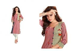 Sunsim Fashion Comfortable and Regular Fit Cotton Printed 3/4th Sleeve Casual Kurtis For Womens