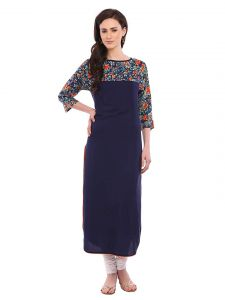 Sunsim Fashion Comfortable and Regular Fit Crepe Printed 3/4th Sleeve Casual Kurtis For Womens (Royal Blue)