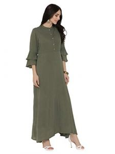 Sunsim Fashion Comfortable and Regular Fit Viscose Printed 3/4th Sleeve Casual Kurtis For Womens (Green)