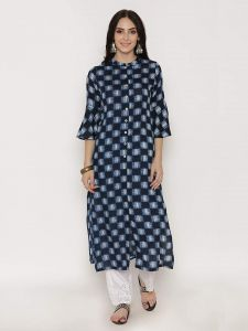 Sunsim Fashion Comfortable and Regular Rayon Printed 3/4th Sleeve Casual Kurtis For Womens (Blue)