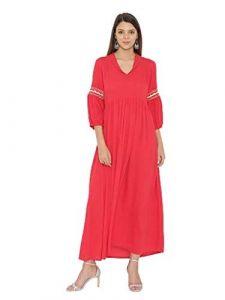 Sunsim Fashion Comfortable and Regular Fit Viscose Printed 3/4th Sleeve Casual Kurtis For Womens (Peach Orange)