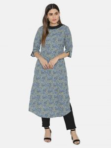 Sunsim Fashion Comfortable and Regular Crepe Printed 3/4th Sleeve Casual Kurtis For Womens (Grey)