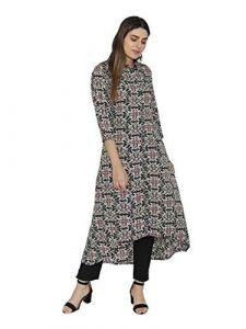 Sunsim Fashion Comfortable and Regular Crepe Printed 3/4th Sleeve Casual Kurtis For Womens (Black)