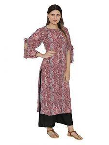 Sunsim Fashion Comfortable and Regular Crepe Printed 3/4th Sleeve Casual Kurtis For Womens (Maroon)