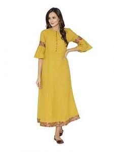Sunsim Fashion Comfortable and Regular Fit Cotton Blend Printed 3/4th Sleeve Casual Kurtis For Womens (Yellow)