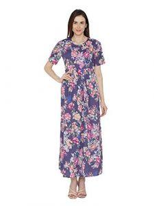 Sunsim Fashion Comfortable and Regular Fit Crepe Printed Half Sleeve Casual Kurtis For Womens (Purple)
