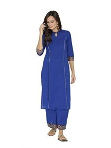 Sunsim Fashion Comfortable and Regular Fit Cotton Blend Printed 3/4th Sleeve Casual Kurtis For Womens (Royal Blue)