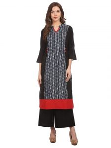 Sunsim Fashion Comfortable and Regular Fit Cotton Printed 3/4th Sleeve Casual Kurtis For Womens (Black)