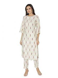 Sunsim Fashion Comfortable and Regular Crape Printed 3/4th Sleeve Casual Kurtis For Womens (White)