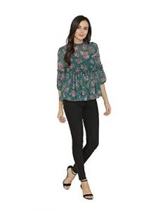 Sunsim Fashion Comfortable and Regular Rayon Floral Printed 3/4th Sleeve Top For Womens (Green)