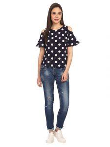 Sunsim Fashion Comfortable and Regular Rayon Polka Dot Printed Half Sleeve Top For Womens (Black)