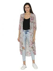Sunsim Fashion Comfortable and Regular Fit Georgette Floral Printed Longline 3/4 Sleeve Shrug For Womens (Grey)