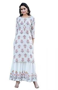 Sunsim Fashion Comfortable and Regular Fit Cotton Embroidery 3/4th Sleeve Casual Kurtis For Womens (Off-White)