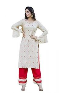 Sunsim Fashion Comfortable and Regular Fit Cotton Embroidery 3/4th Sleeve Casual Kurtis For Womens (Combo Pack)