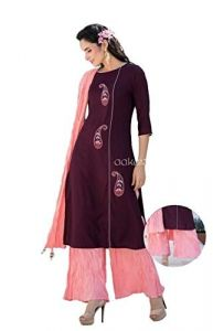 Sunsim Fashion Comfortable and Regular Fit Rayon Solid 3/4th Sleeve Casual Kutris For Womens (Maroon)