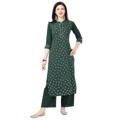 Daisy Crepe Printed Ethnic Wear Kurti with Plazzo for Womens (Color-Green)