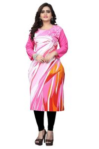 SUNSIM FASHION Cotton Printed 3/4th Sleeve Casual Kurtis For Women's (Pink) (Pack of 1)