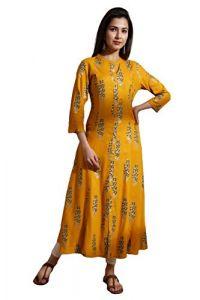 SUNSIM FASHION Kia-Rayon Gold Printed Front Slit Long Kurti For Women (Pack of 1)