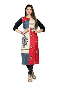 SUNSIM FASHION American Crepe Printed Straight Kurti For Women (Multi-Color) (Pack of 1)