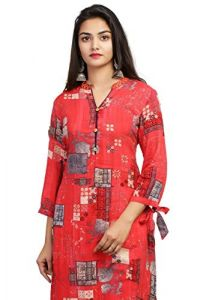 SUNSIM FASHION Kia-Rayon Gold Printed Front Slit Long Kurti For Women (Red) (Pack of 1)