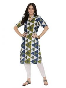 SUNSIM FASHION Rayon Printed Short Sleeve Casual Kurtis For Women's (Multi-Color) (Pack of 1)