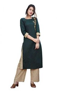 SUNSIM FASHION Anaya Cotton Embroidery Straight Kurti with Bottom For Women's (Green & Beige) (Pack of 1)