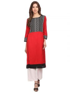 SUNSIM FASHION Rayon Printed 3/4th Sleeve Casual Kurtis For Women's (Red) (Pack of 1)
