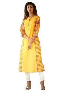 Sunsim Fashion Comfortable And Regular Kia-Chanderi Digital Printed Hand Work Straight Kurti For Women's (Yellow)
