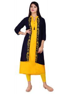 Comfortable and Regular Fit Selfie Style Rayon Kurti With Blue Embroidery Jacket Attach For Women's