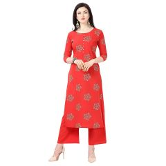 Daisy Crepe Red Printed Ethnic Wear Kurti with Plazzo for Womens (Color-Red)