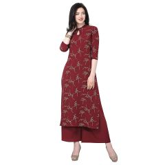 Daisy Crepe Printed Ethnic Wear Kurti with Plazzo for Womens (Color:-Maroon)