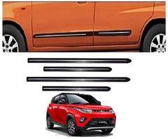 After Cars Mahindra KUV 100 Car Black Side Beading with Chrome Line Set of 4
